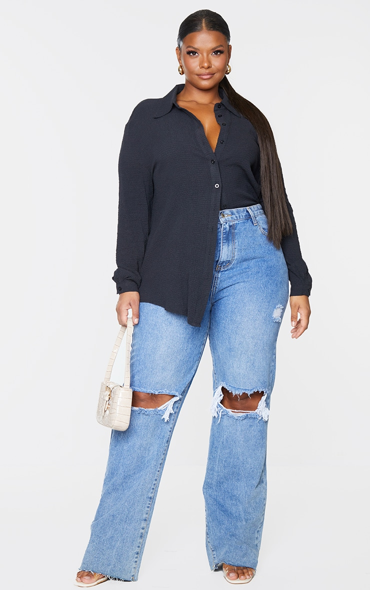 Plus Black Textured Oversized Shirt 1