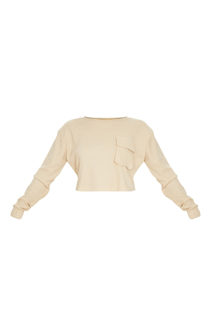Stone Long Sleeve Pocket Detail Waffle Knit Crop Top 5