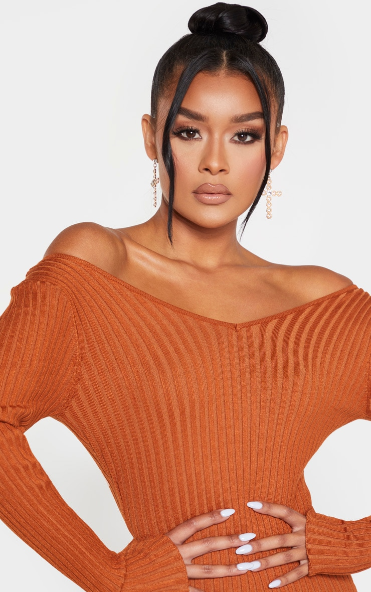 Rust Off Shoulder Rib Knitted Midaxi Dress 5