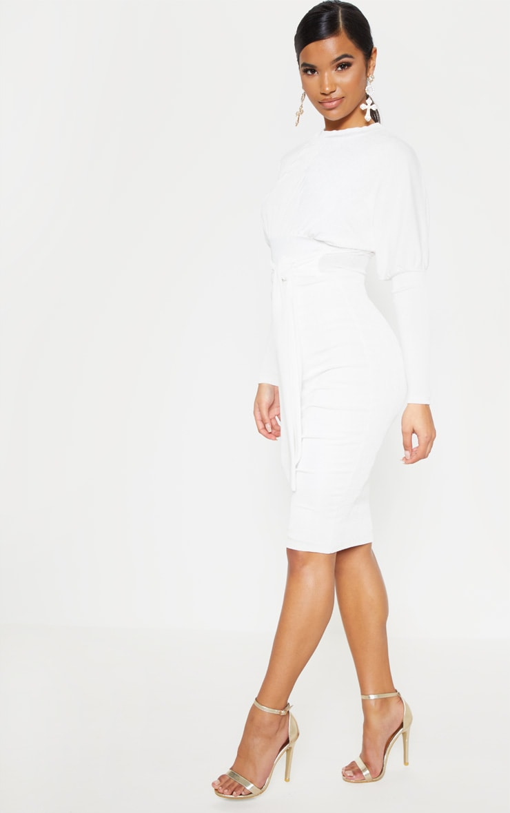 White Balloon Sleeve Tie Waist Midi Dress 4
