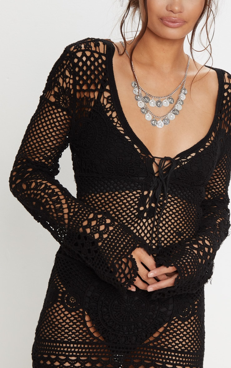 Black Crochet Cotton Dress 3