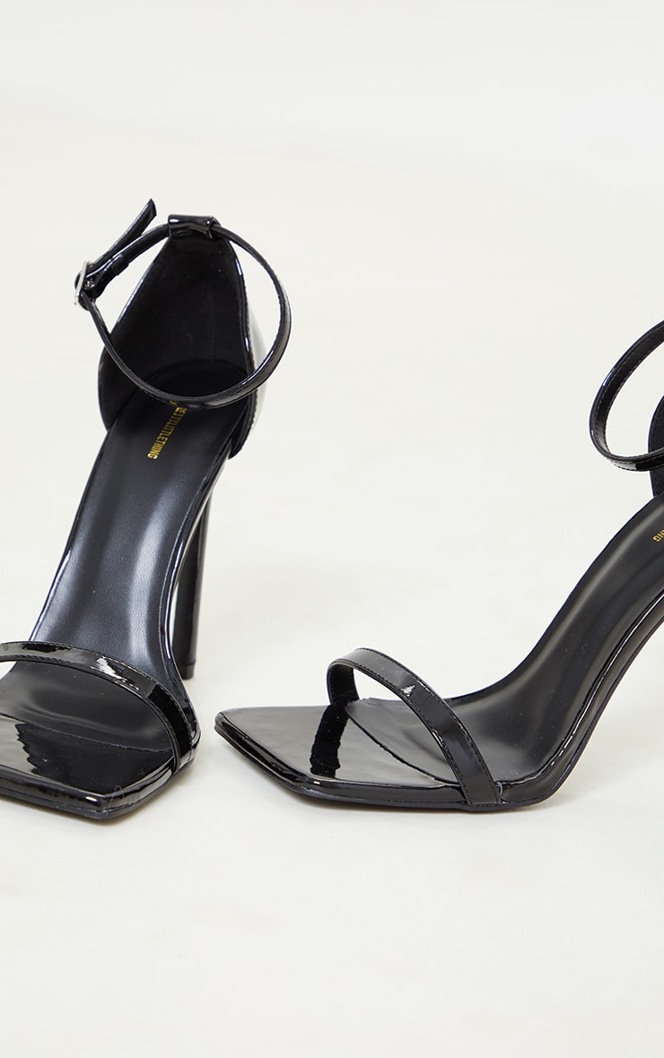 Black Pu Patent Barely There Strappy Heeled Sandals 4