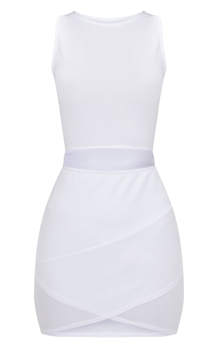 White Cut Out Detail Wrap Skirt Bodycon Dress 3