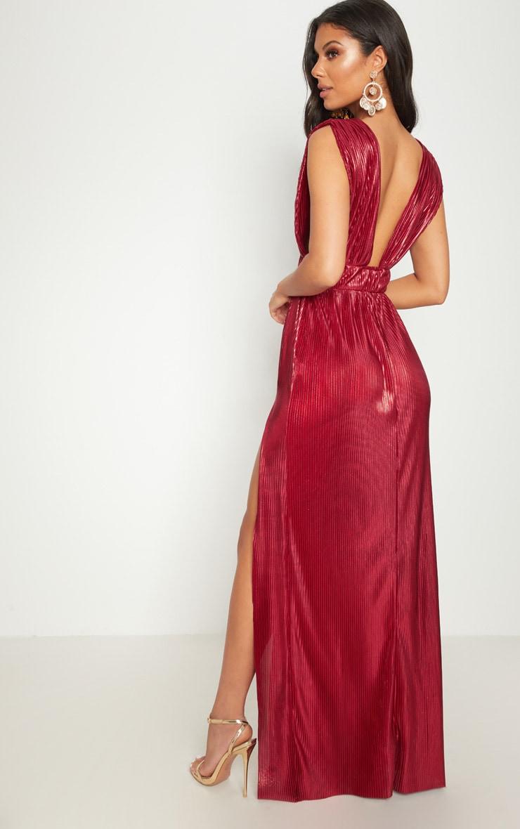 Red Metallic Plisse Plunge Split Leg Maxi Dress 2