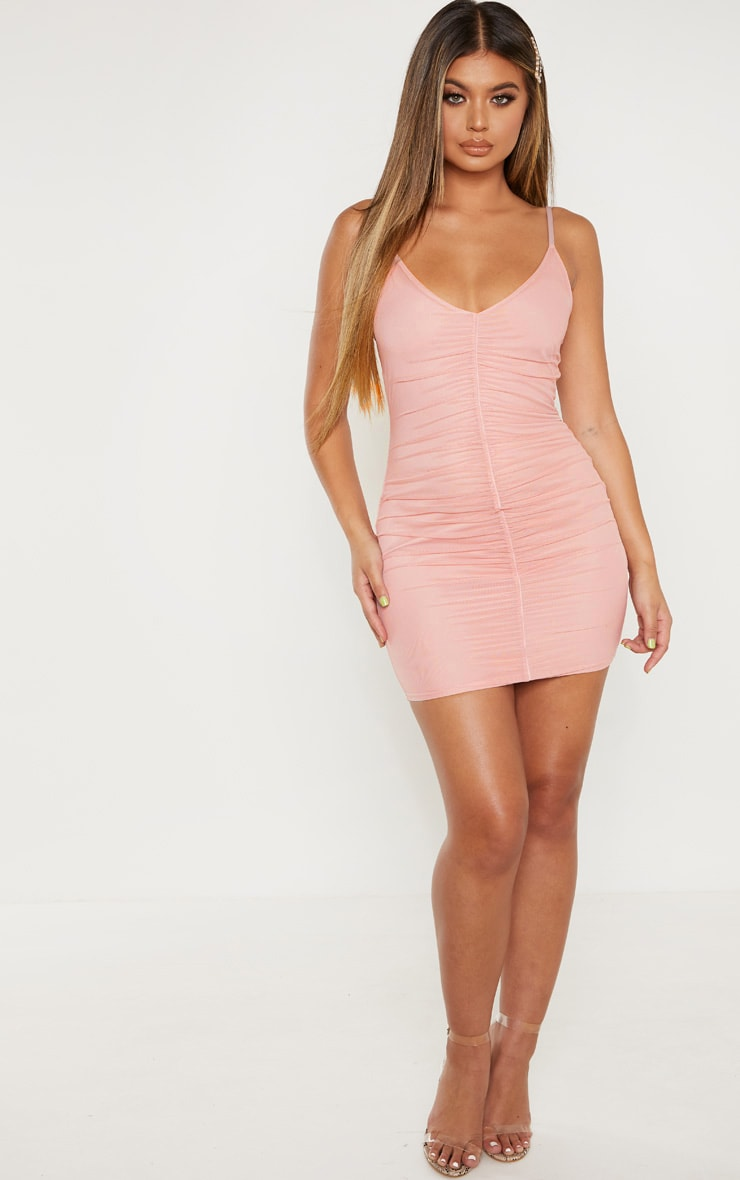 Ruched front strappy bodycon dress leger vintage