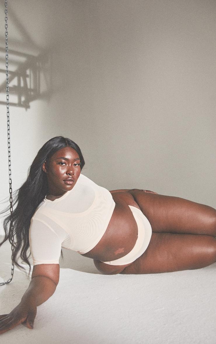 PLT Plus Seconde Peau - Top lingerie court en mesh vanille 3