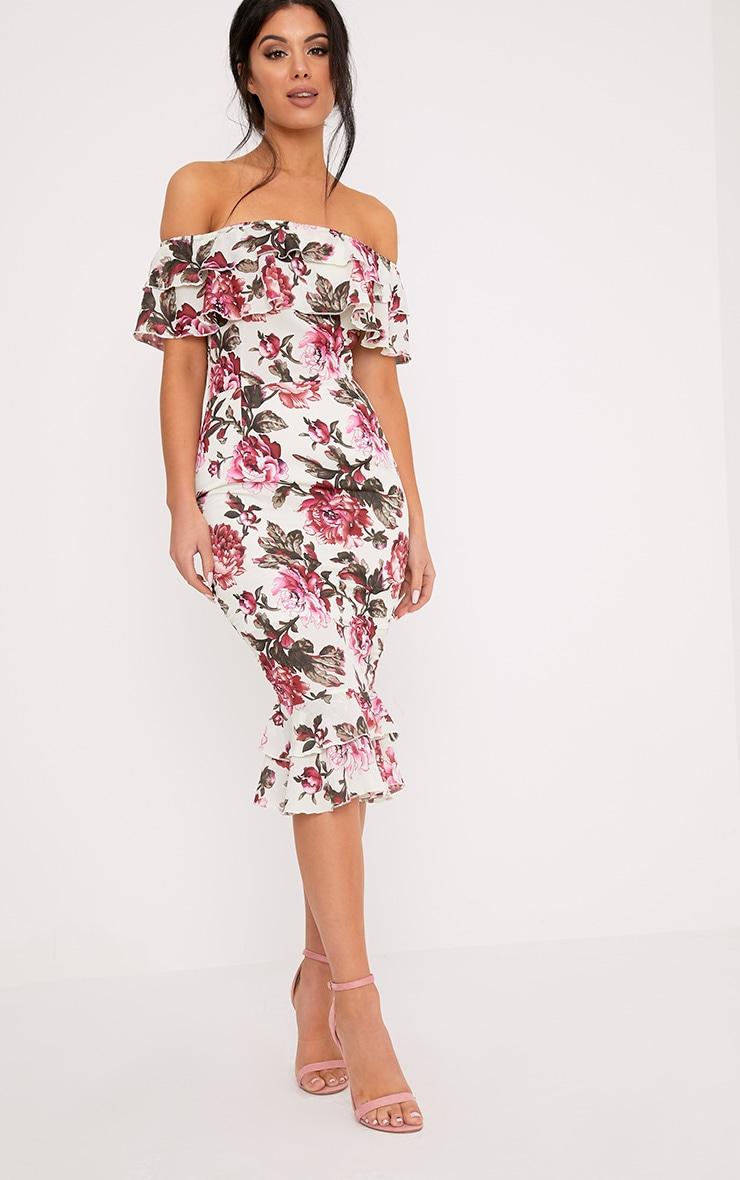 Karolina Pink Chiffon Floral Frill Bardot Midi Dress  4