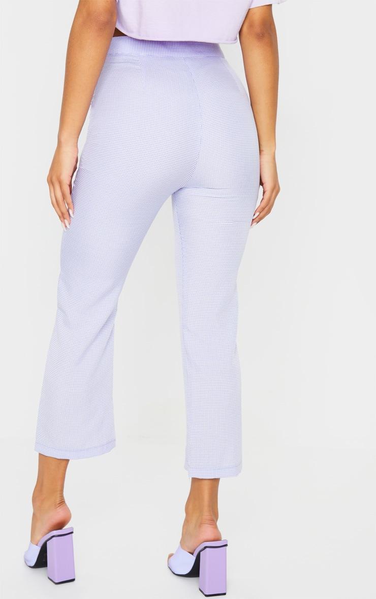 Lilac Gingham Straight Leg Crop Pants 3