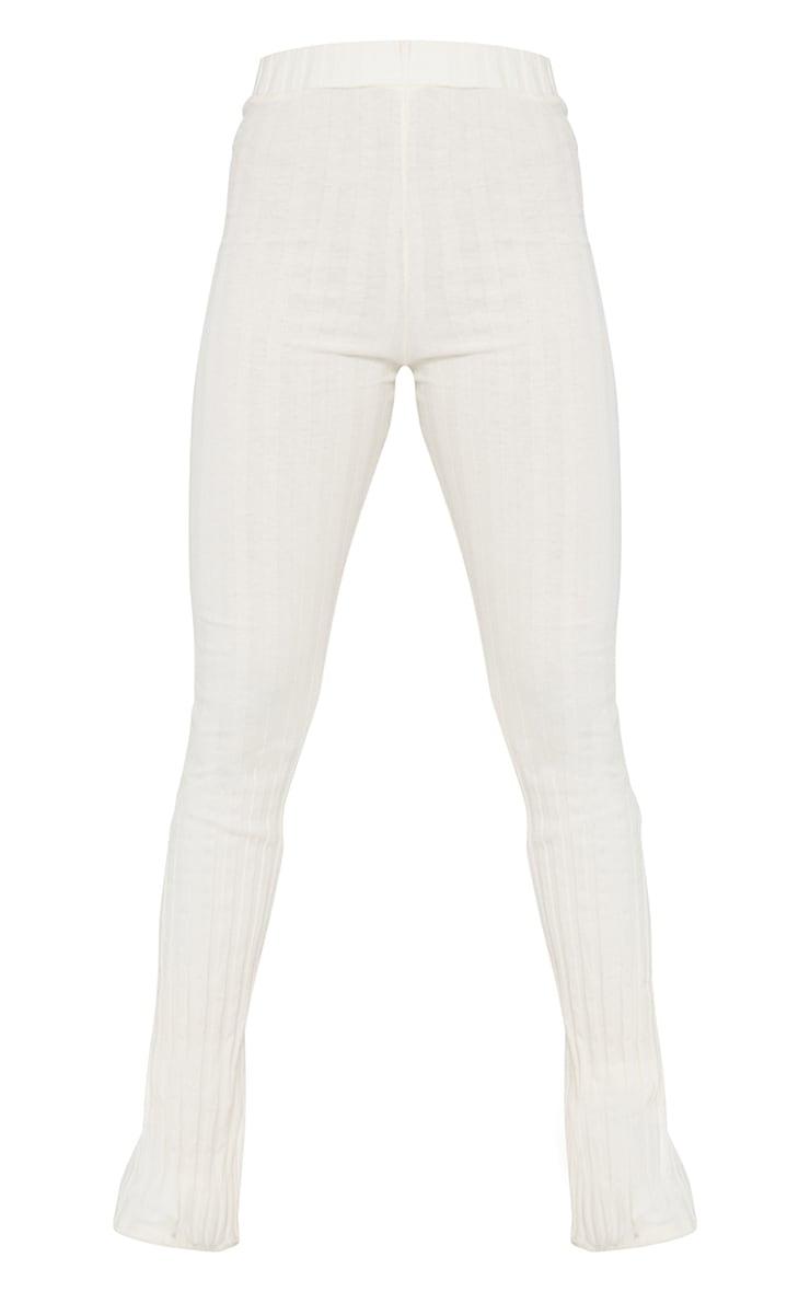Cream Rib High Waist Skinny Flared Trousers 5