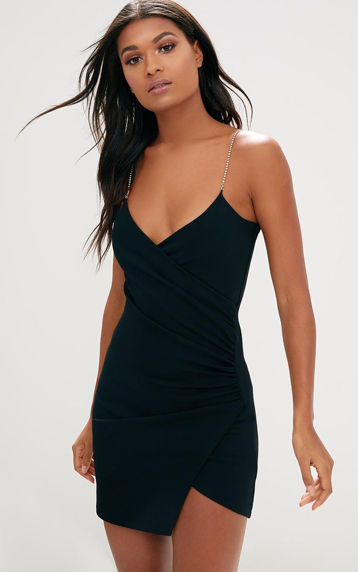 Black Diamante Strap Ruched Asymmetric Dress