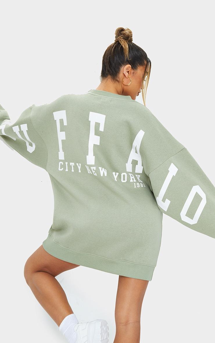 Sage Green  Buffalo New York Slogan Sweatshirt Dress 4