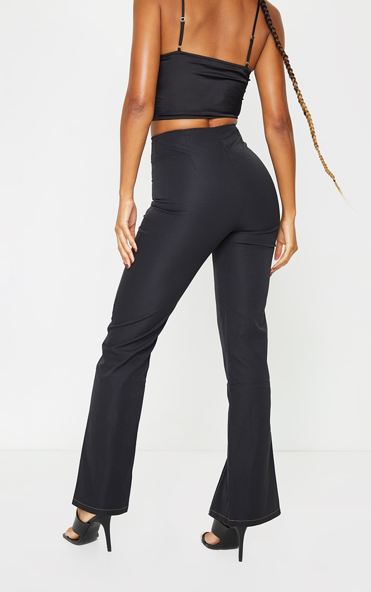 Black Zip Detail Contrast Stitch Straight Leg Pants 3