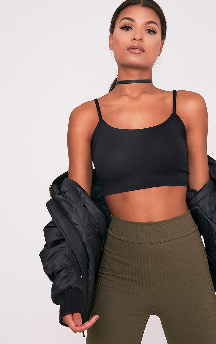 Basic Black Jersey Strappy Crop Top 2