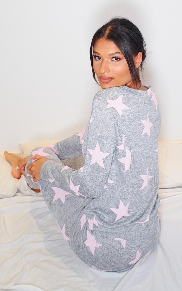 Grey and Pink Star Print Long PJ Set 2