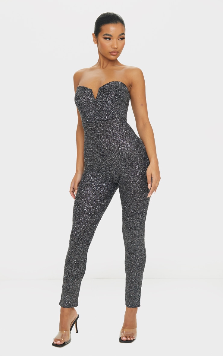 Black Glitter V Bar Bandeau Jumpsuit 3
