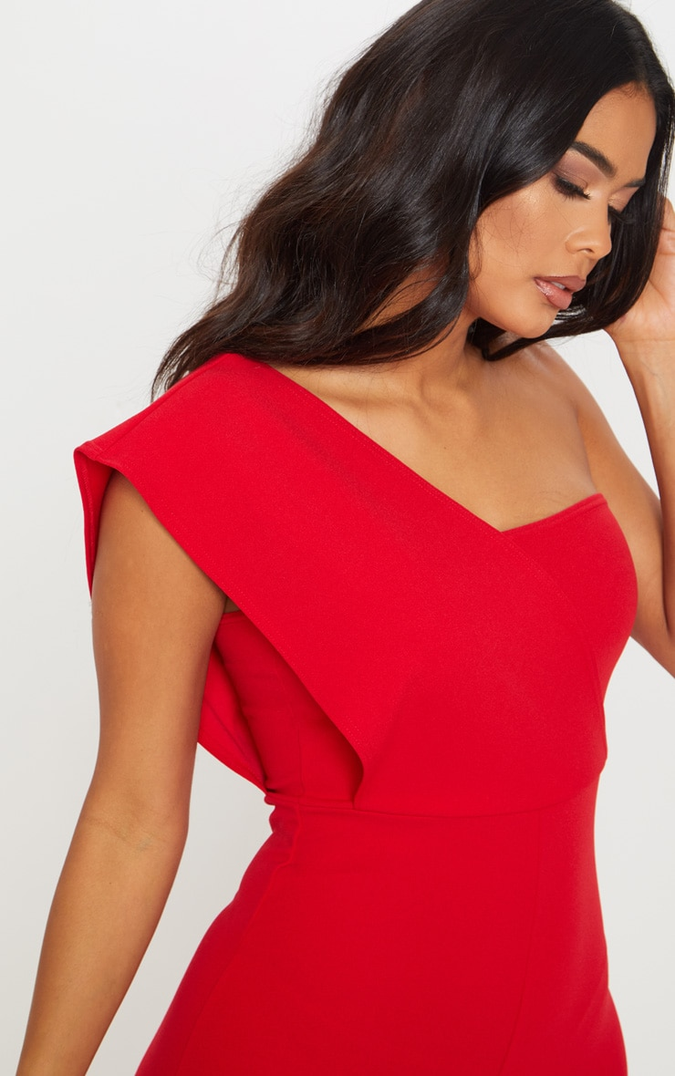Red Drape One Shoulder Jumpsuit 5