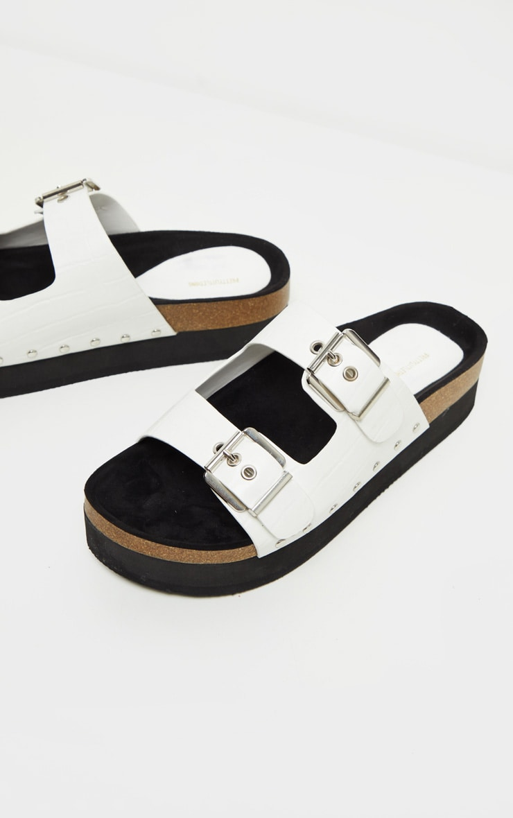 White Flatform Studded Double Buckle Mule Slider 3