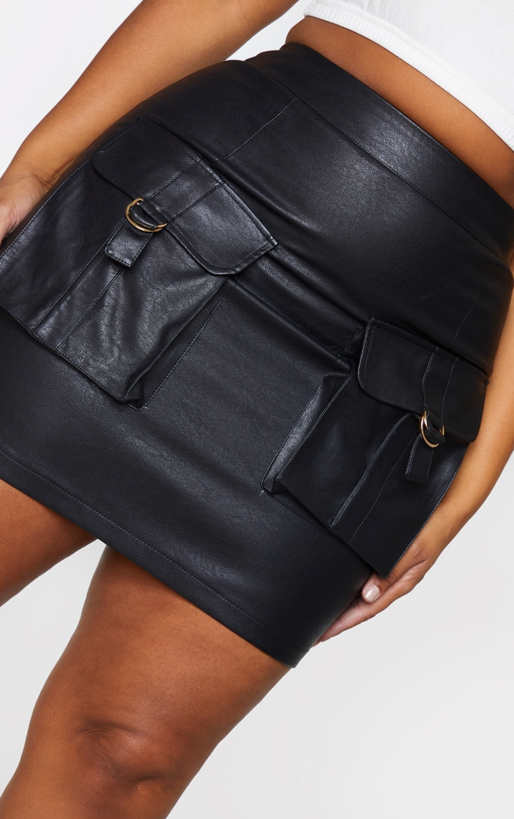Plus Black Faux Leather Buckle Detail Bodycon Skirt 5