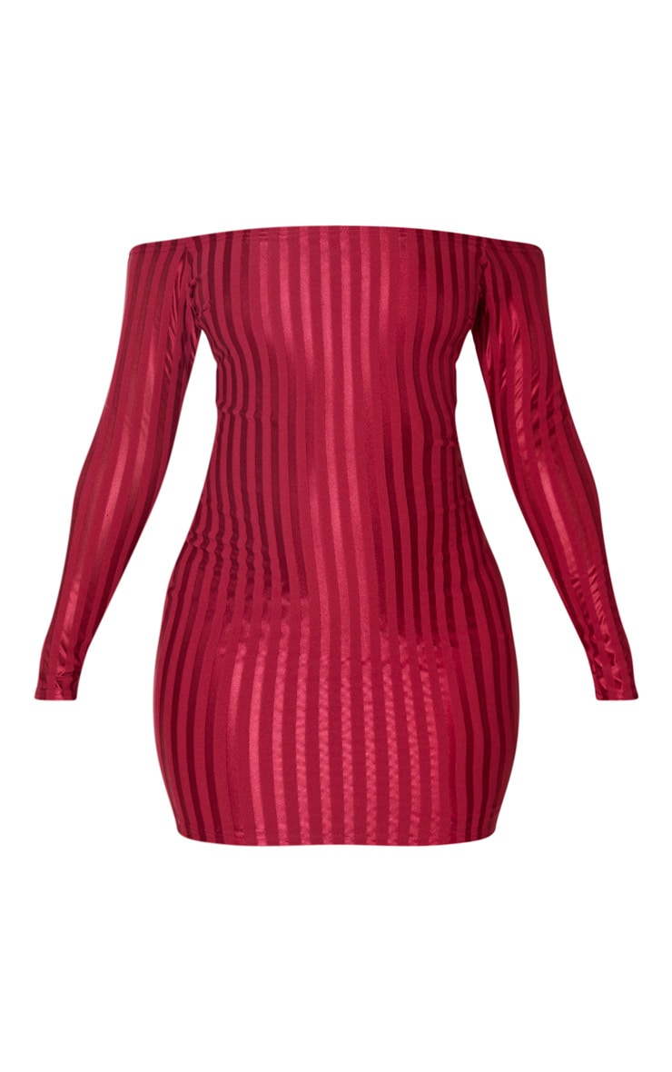 Burgundy Satin Stripe Detail Bardot Bodycon Dress 3