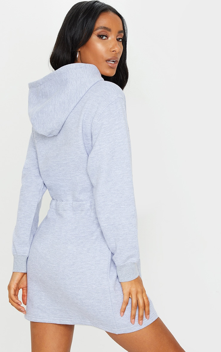PRETTYLITTLETHING Grey Toggle Front Hoodie Sweater Dress 2