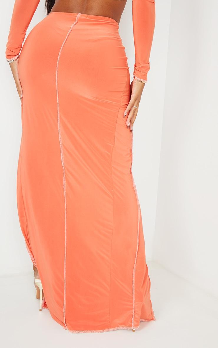Shape Orange Slinky Split Front Maxi Skirt 3