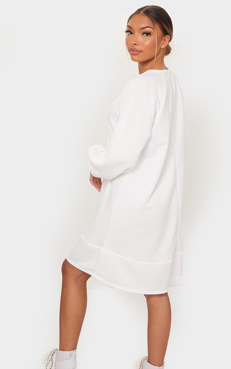 White Oversized Sweat Sweater Dress 2