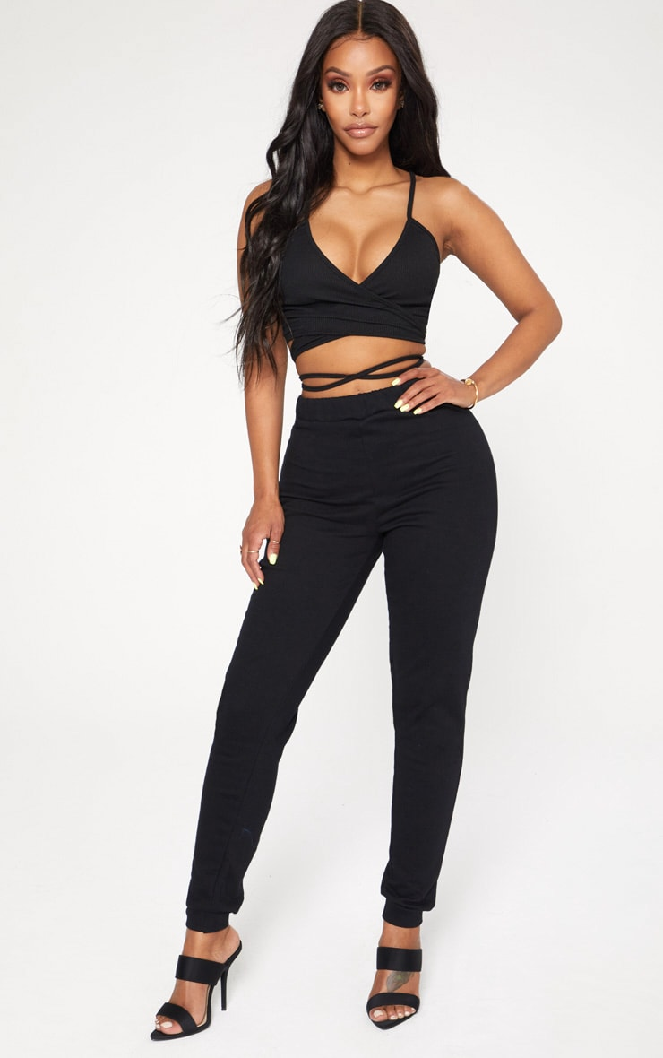 Shape Black Ribbed Wrap Waist Detail Crop Top 4