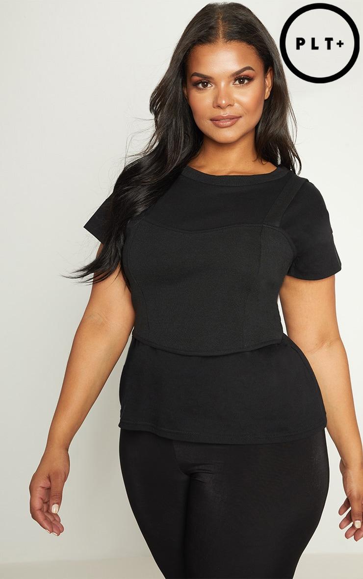 Plus Black Ribbed Corset Detail T-Shirt 1