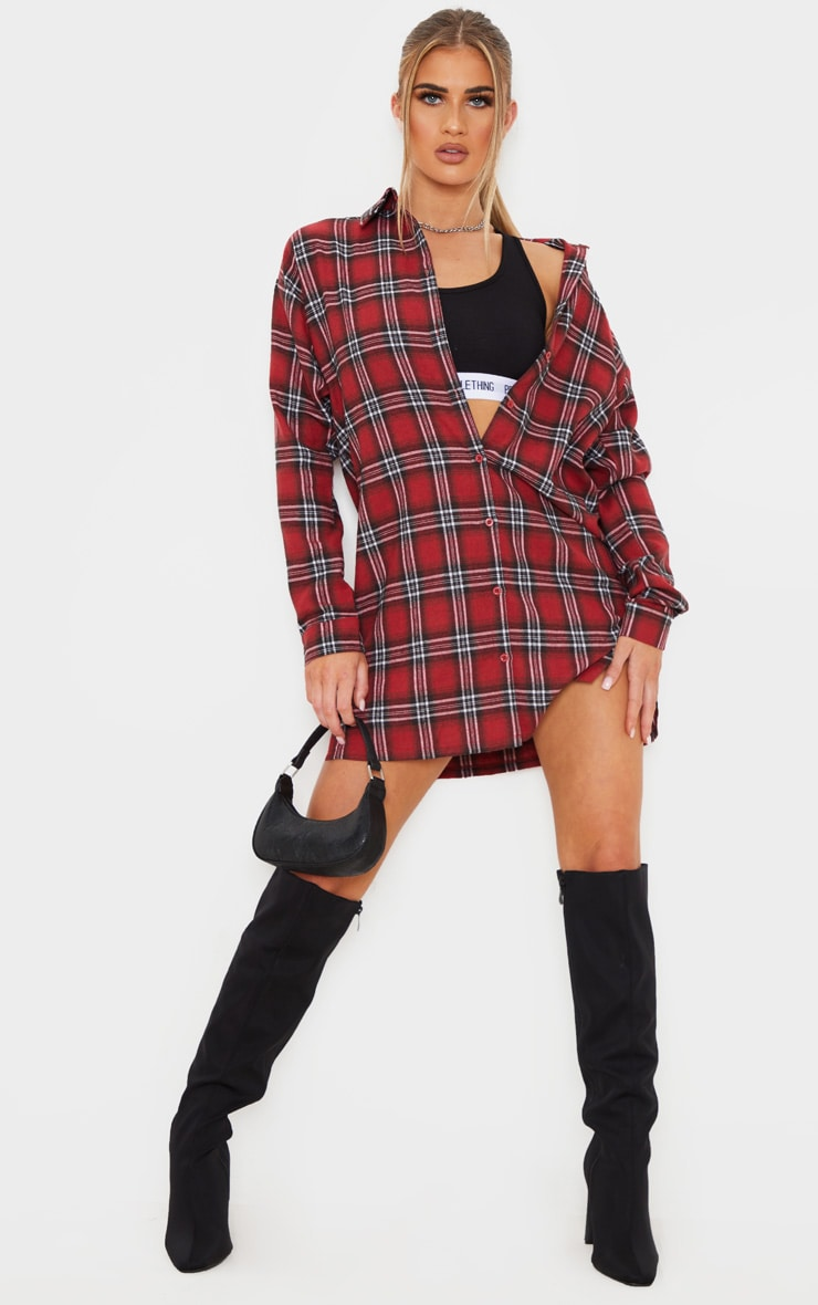 Red Oversized Split Hem Checked Shirt Dress 4