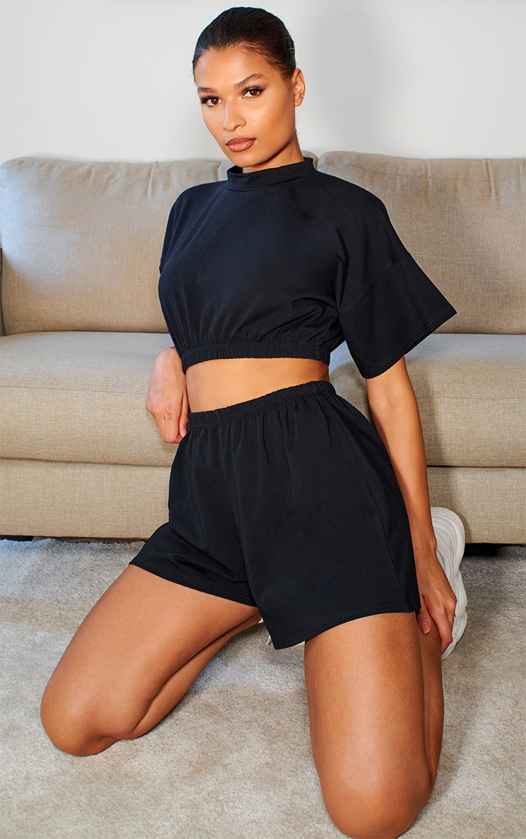 Black Cotton Elastic Hem Crop Top & Floaty Shorts Set 1
