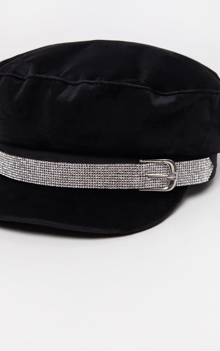 Black Diamante Buckle Baker Boy Hat 4