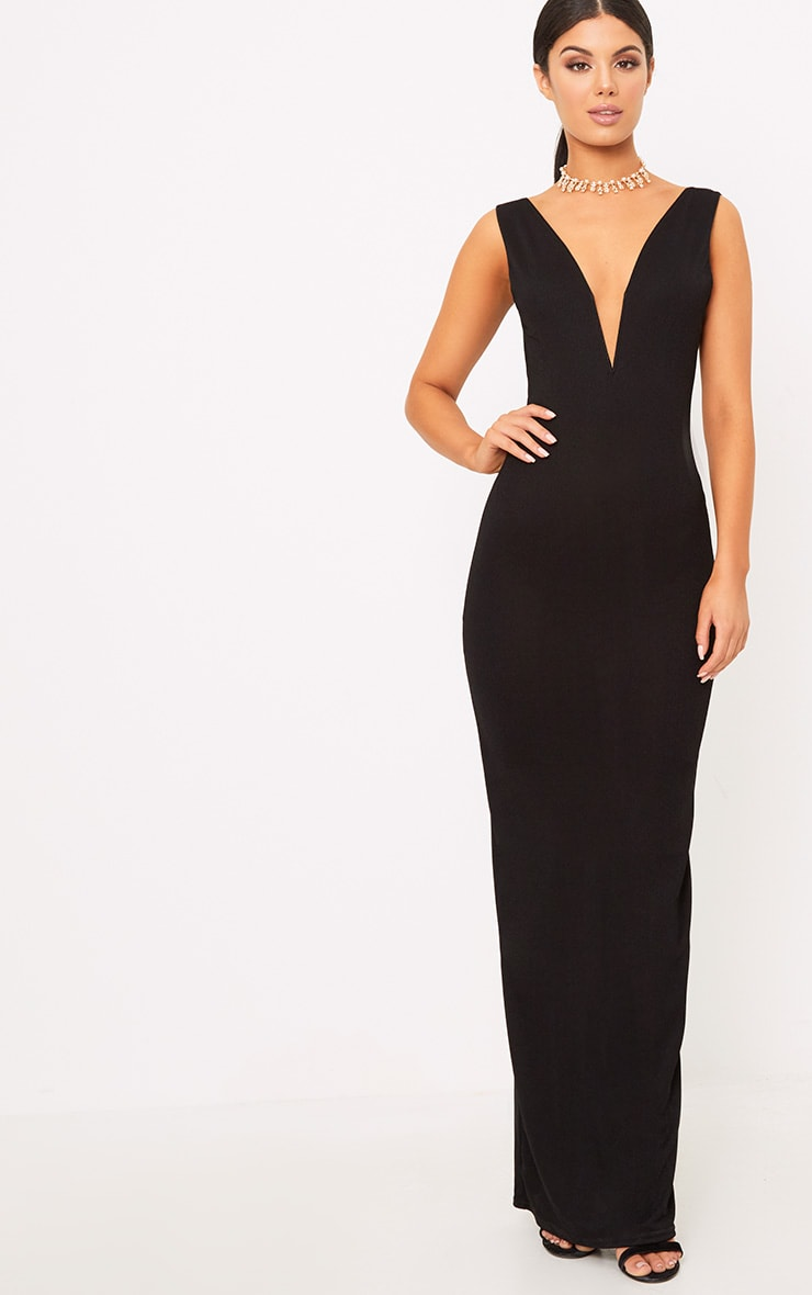 Flossie Black Plunge Maxi Dress 1