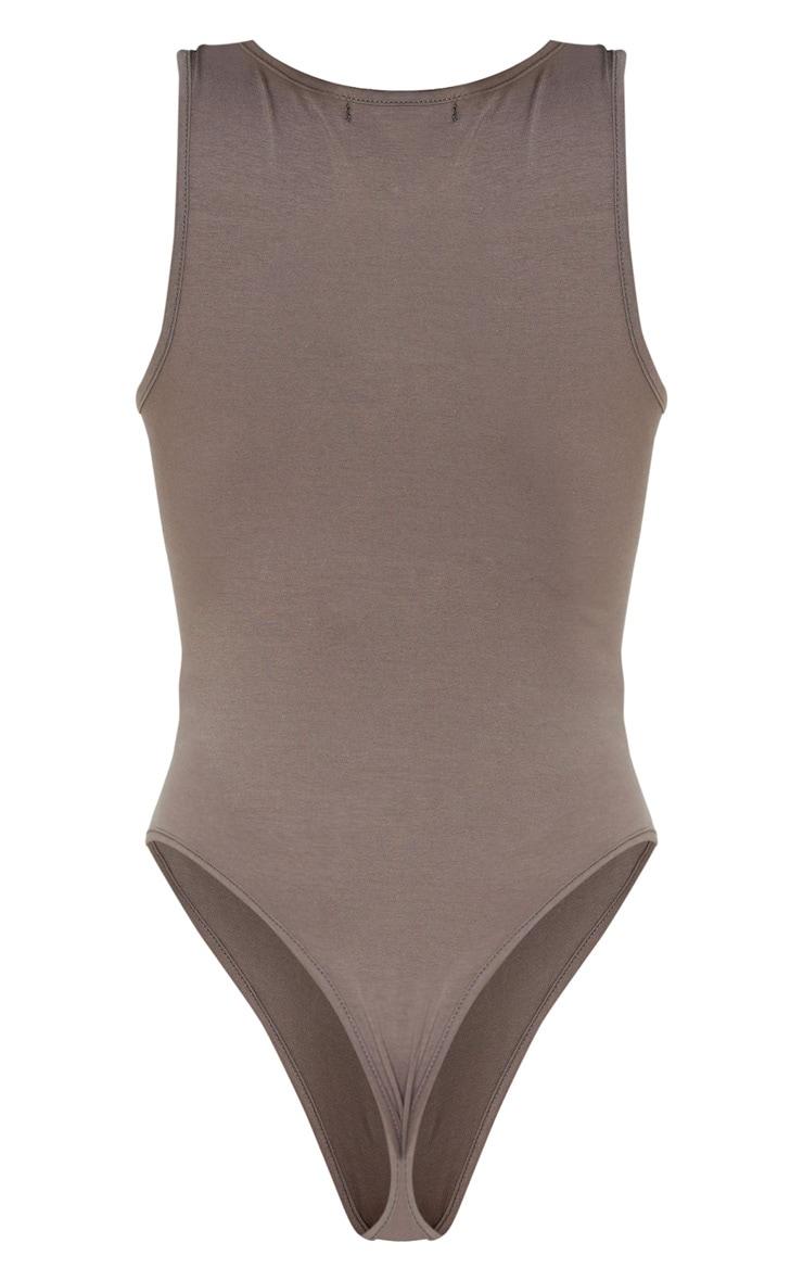 Mocha Cotton Scoop Neck Sleeveless Bodysuit 4