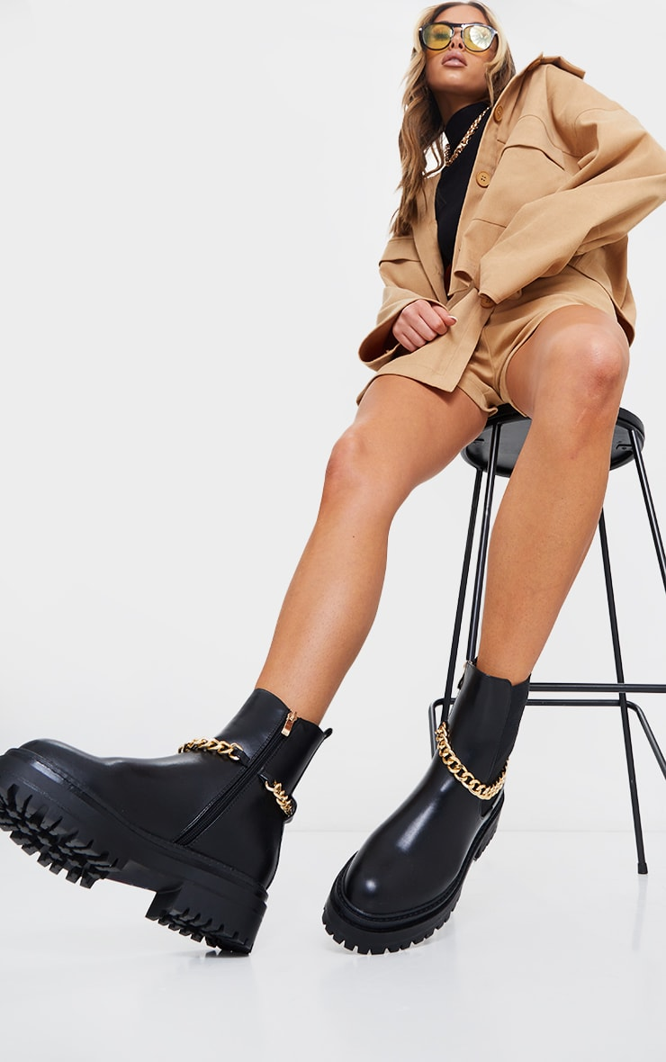 Black Chunky Chain Chelsea Boots 2