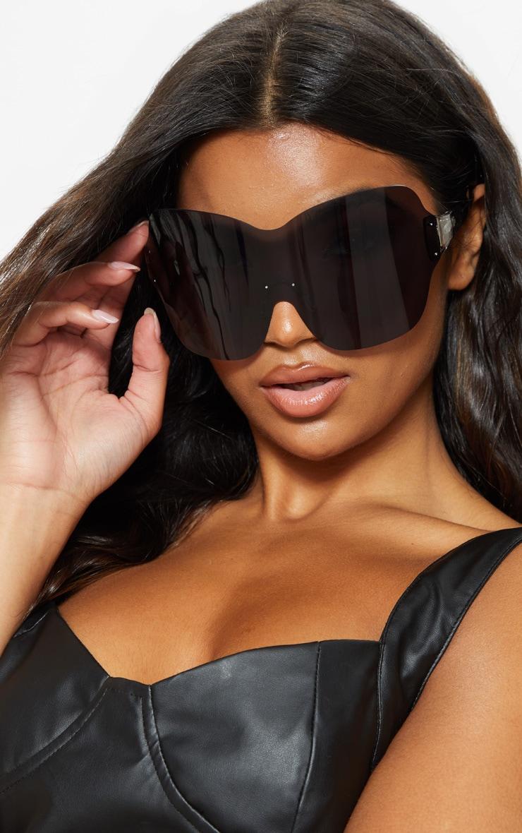 Black Extra Oversized Frameless Visor Style Sunglasses     1