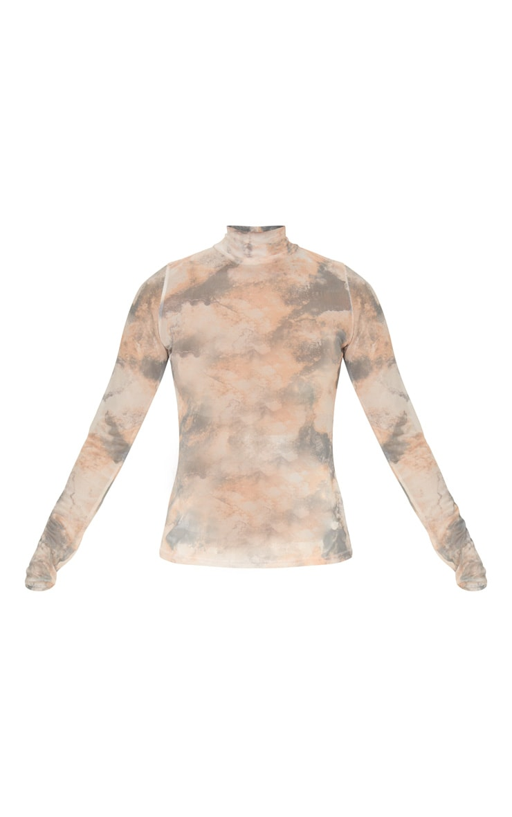 Brown High Neck Marble Printed Mesh Long Sleeve Top 5
