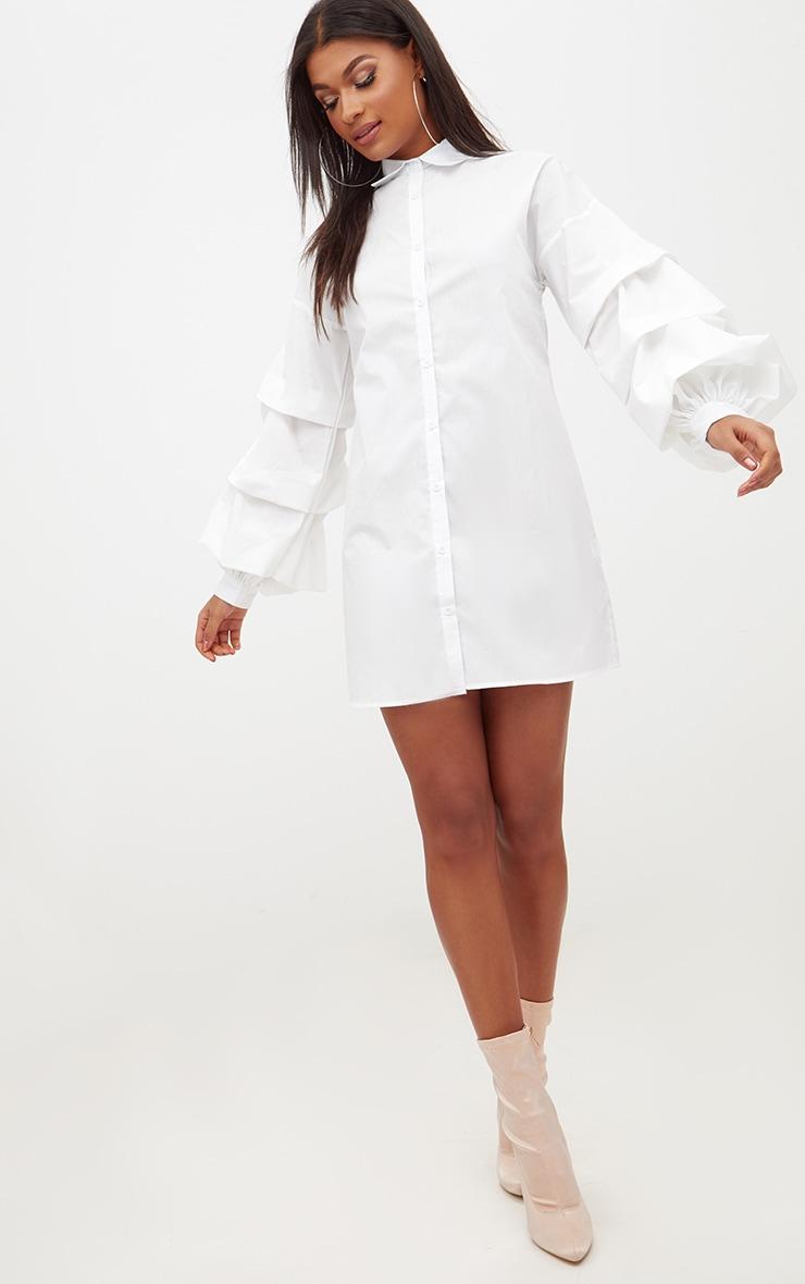 White Ruffle Sleeve Shirt Dress 4