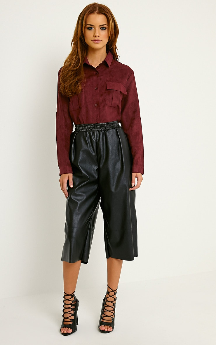 Blithe Oxblood Faux Suede Oversized Shirt 3
