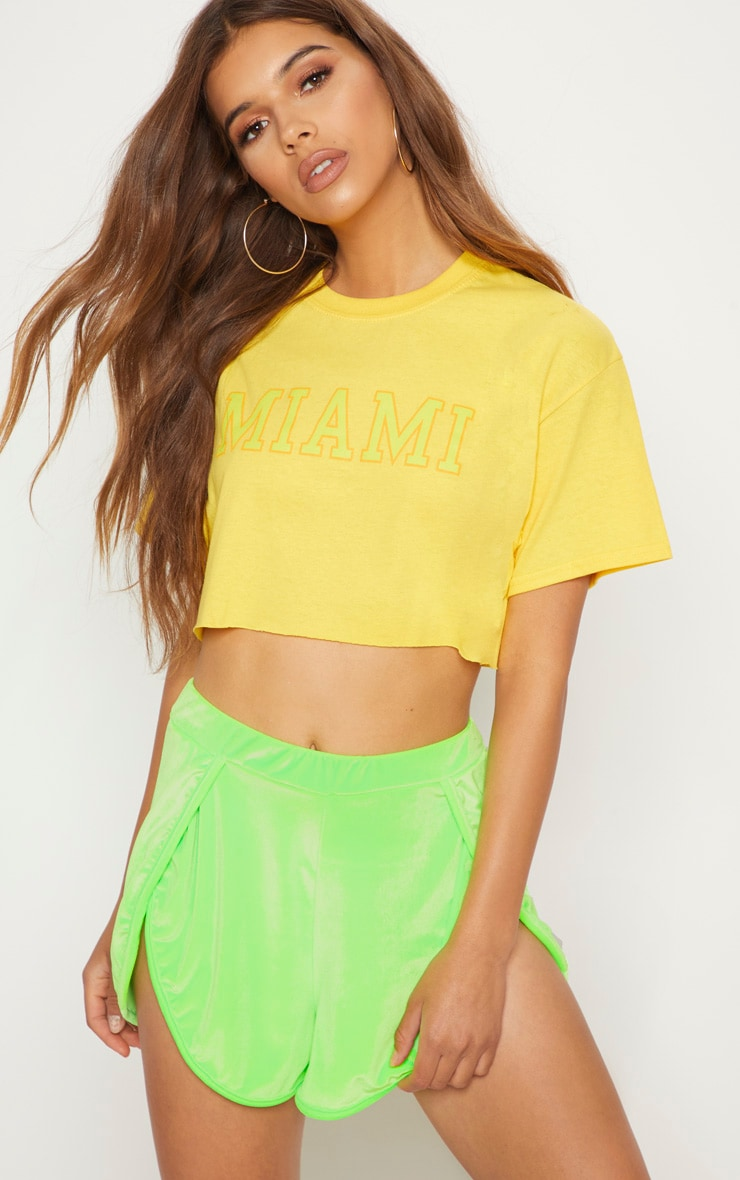 Yellow Miami Slogan Cropped T Shirt