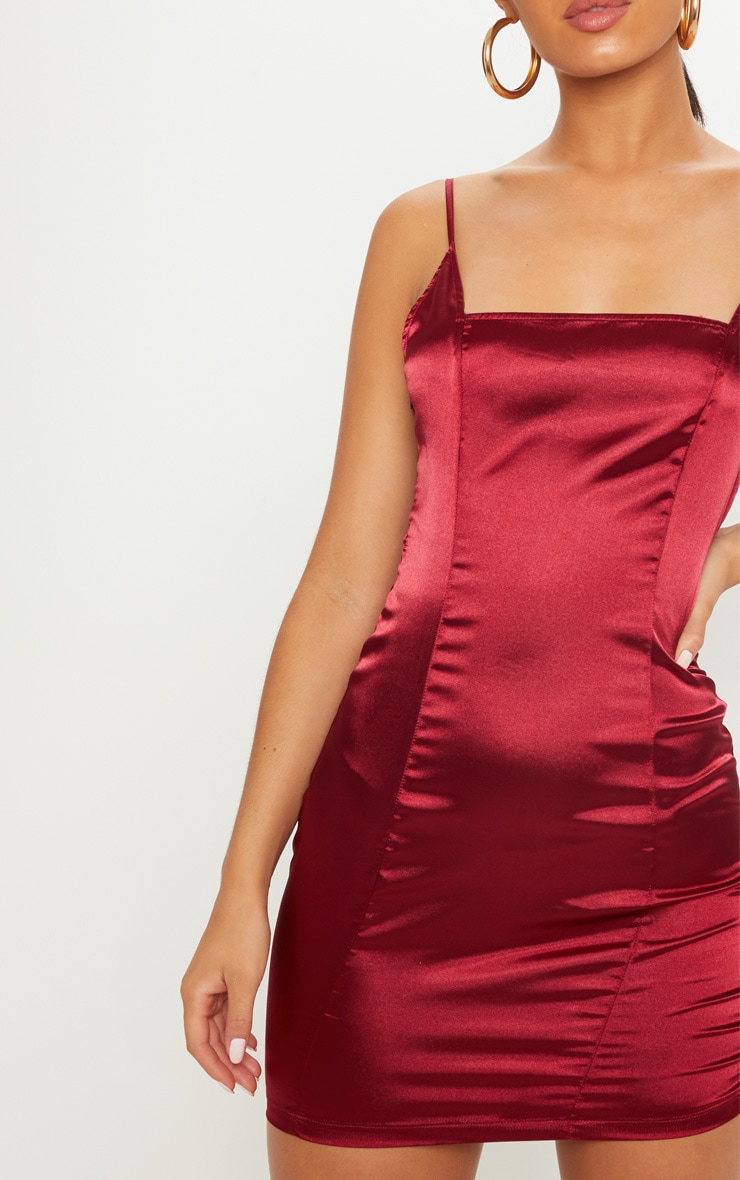 Burgundy Satin Strappy Square Neck Bodycon Dress 5