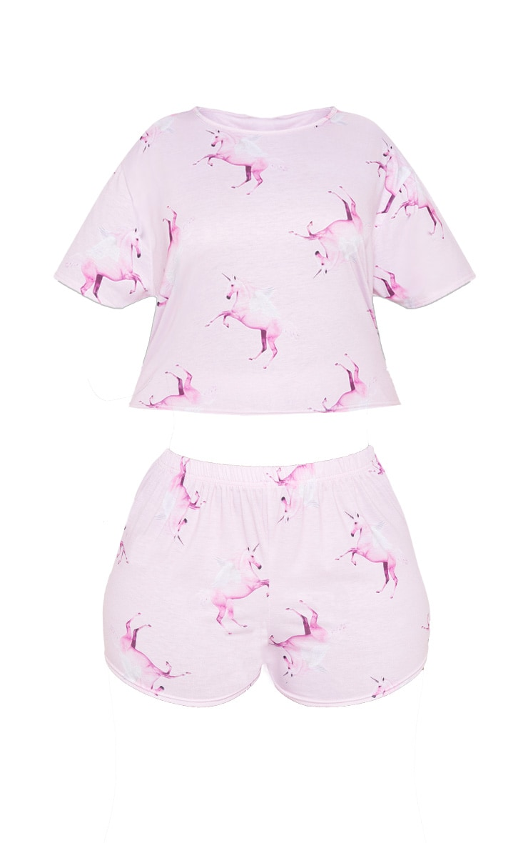 PRETTYLITTLETHING Unicorn Plus Pink Print Short PJ Set 3