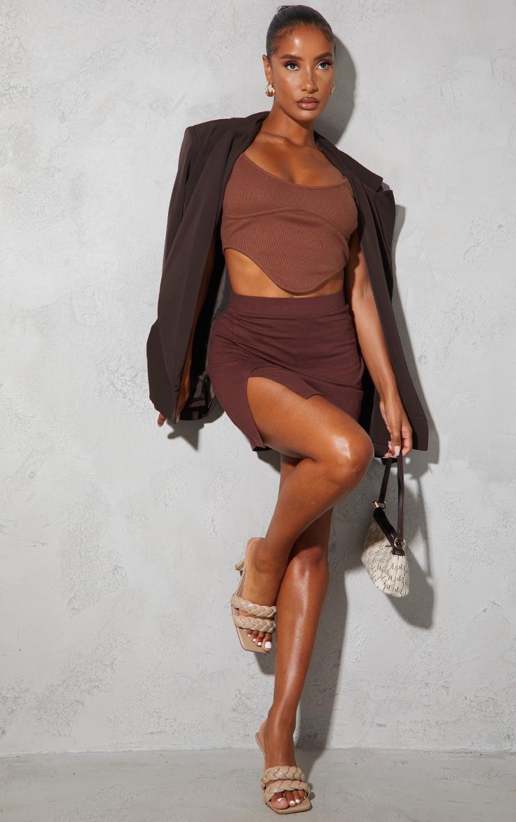 Chocolate Cotton Stretch Split Front Mini Skirt 4