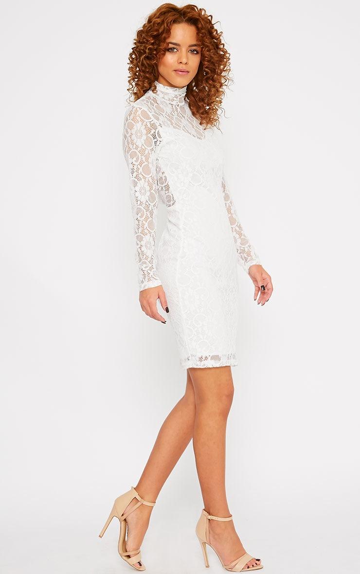 Esty White Lace High Neck Mini Dress  3