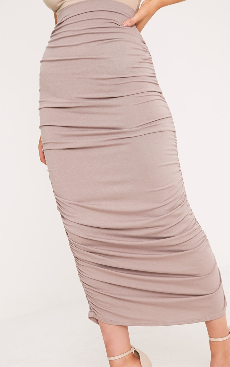 Taupe Second Skin Ruched Midaxi Skirt 5