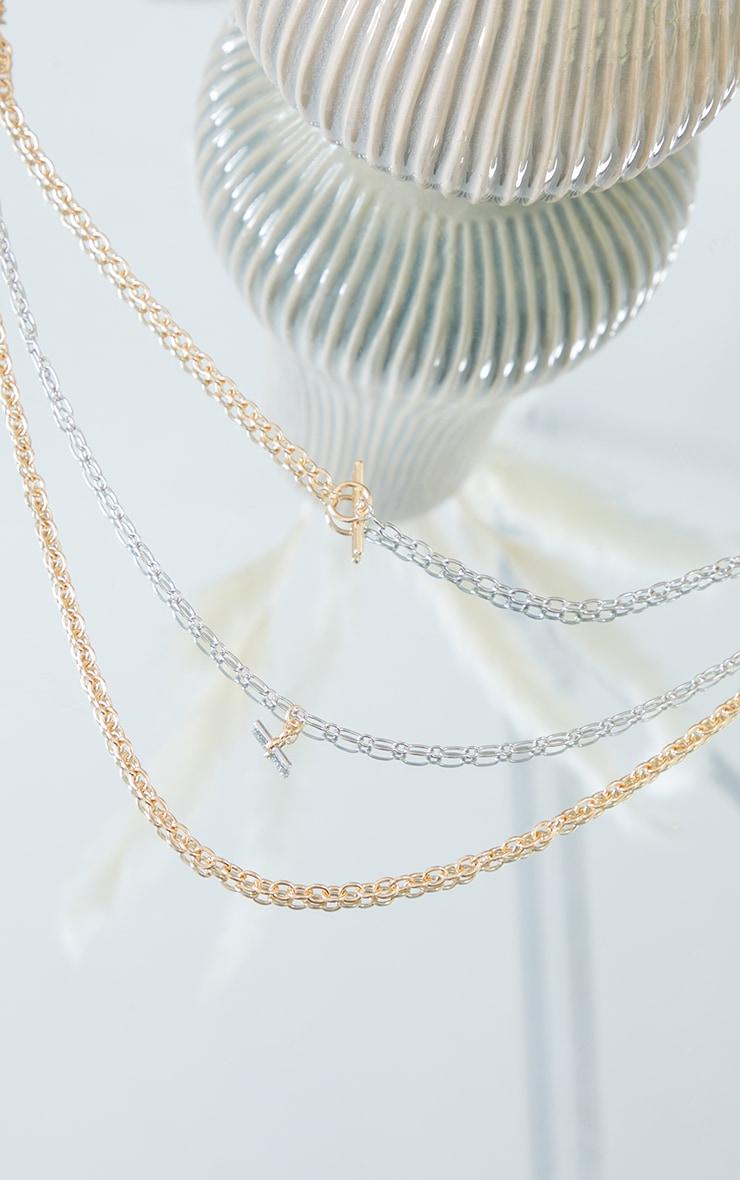Collier de chaînes multiples dorées & argentées à barres en T 3