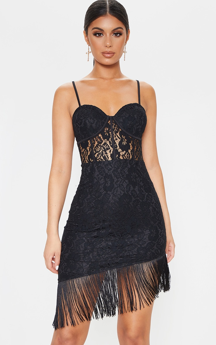 Black Lace Cup Detail Tassel Hem Bodycon Dress 4