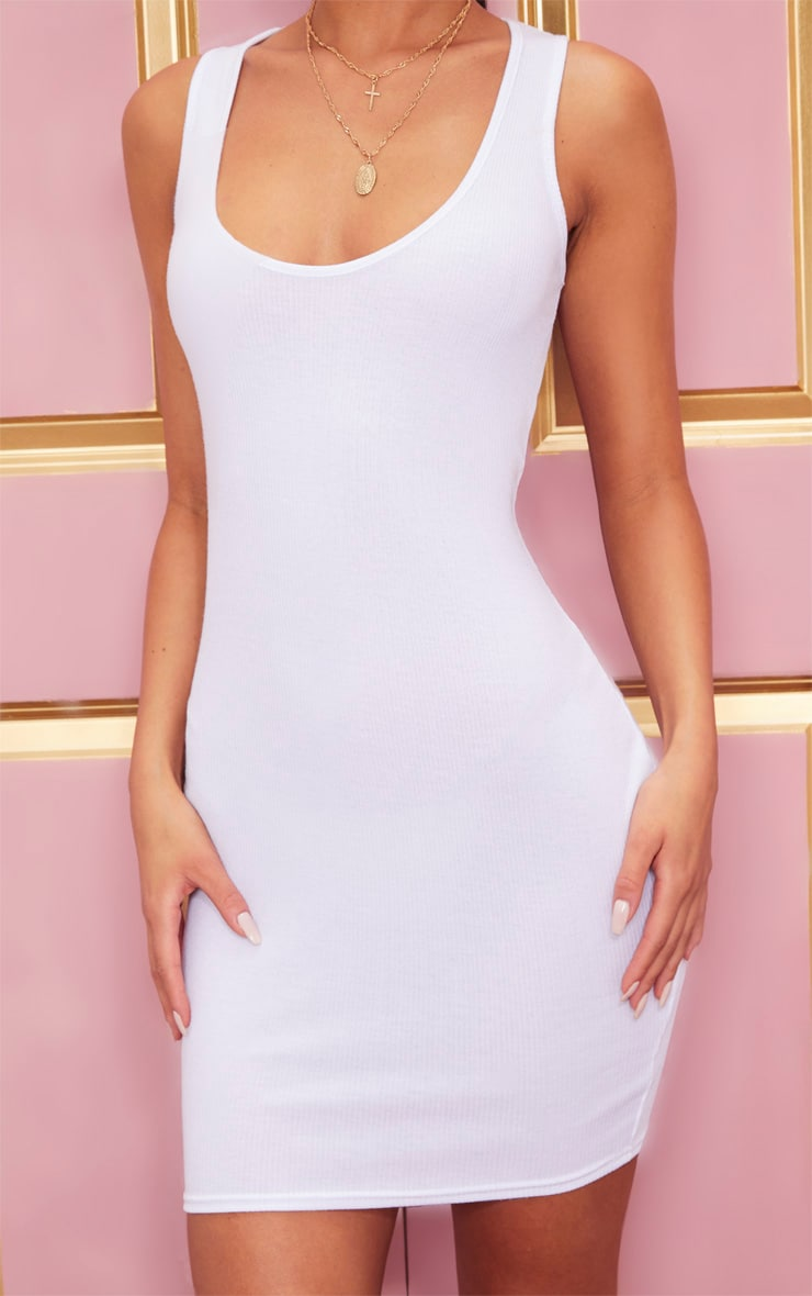 White Ribbed Scoop Neck Bodycon Dress 5