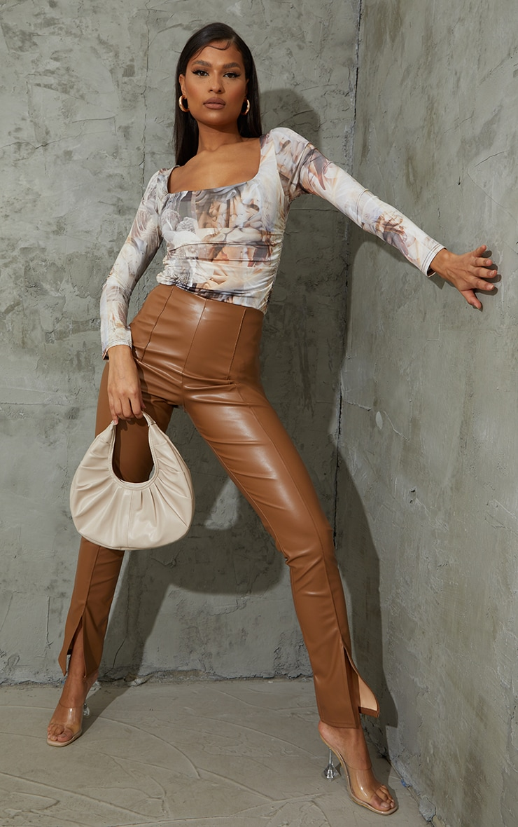 Nude Renaissance Printed Slinky Ruched Long Sleeve Square Neck Bodysuit 3