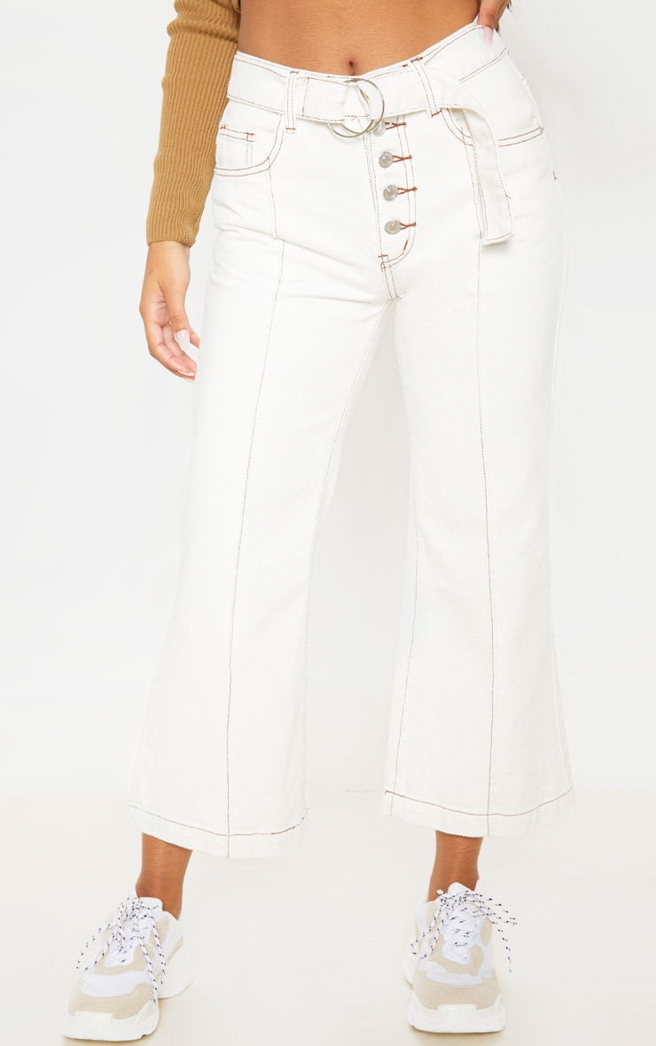 White Belted Wide Leg Cropped Jeans 2