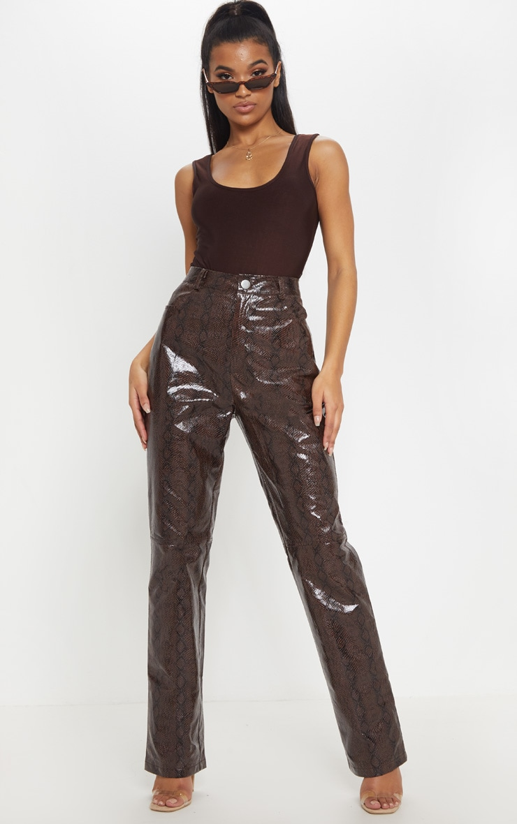 Brown Faux Leather Snakeskin Straight Leg Pants 1